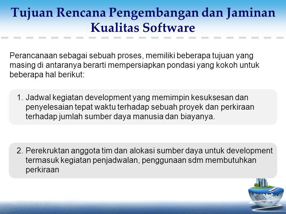 Tujuan Rencana Pengembangan dan Jaminan Kualitas Software