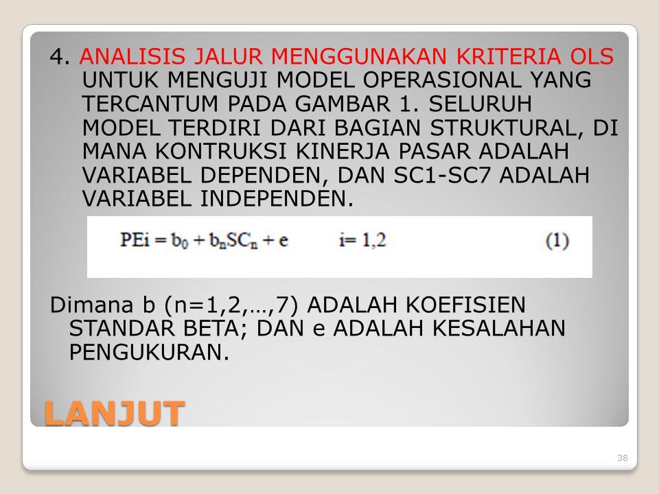 4. ANALISIS JALUR MENGGUNAKAN KRITERIA OLS UNTUK MENGUJI MODEL OPERASIONAL YANG TERCANTUM PADA GAMBAR 1. SELURUH MODEL TERDIRI DARI BAGIAN STRUKTURAL, DI MANA KONTRUKSI KINERJA PASAR ADALAH VARIABEL DEPENDEN, DAN SC1-SC7 ADALAH VARIABEL INDEPENDEN. Dimana b (n=1,2,…,7) ADALAH KOEFISIEN STANDAR BETA; DAN e ADALAH KESALAHAN PENGUKURAN.