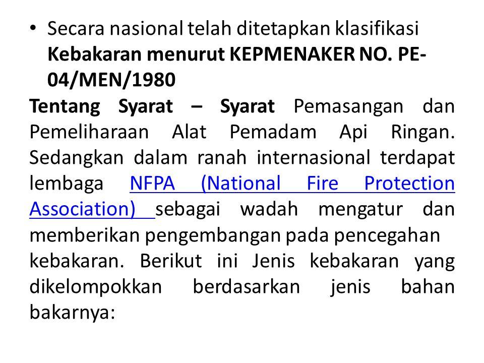 Secara nasional telah ditetapkan klasifikasi Kebakaran menurut KEPMENAKER NO. PE-04/MEN/1980