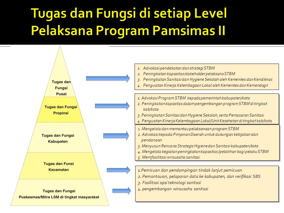 Tugas dan Fungsi di setiap Level Pelaksana Program Pamsimas II