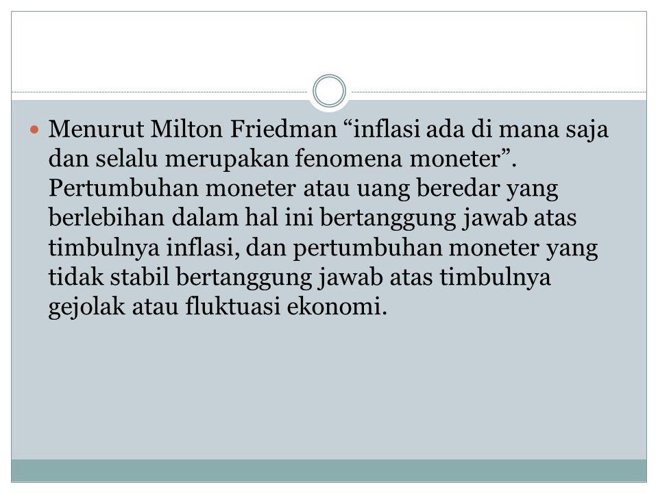 Menurut Milton Friedman inflasi ada di mana saja dan selalu merupakan fenomena moneter .