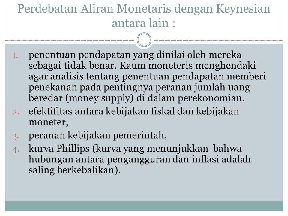 Perdebatan Aliran Monetaris dengan Keynesian antara lain :