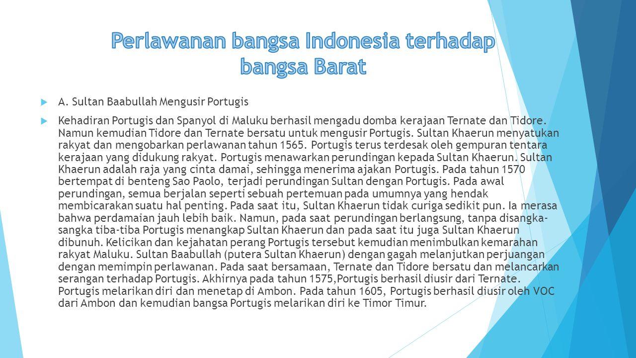 Perlawanan bangsa Indonesia terhadap bangsa Barat
