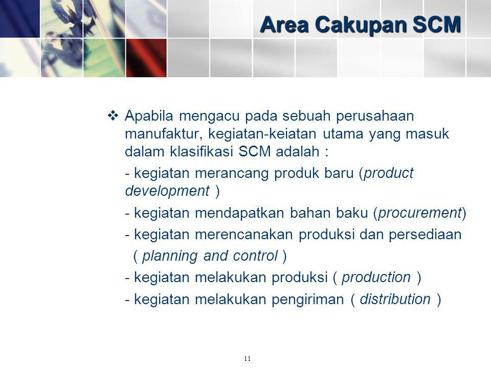 Area Cakupan SCM Apabila mengacu pada sebuah perusahaan manufaktur, kegiatan-keiatan utama yang masuk dalam klasifikasi SCM adalah :