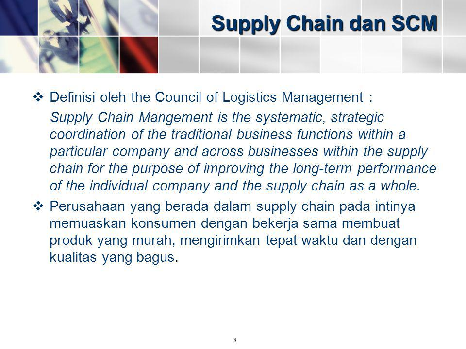 Supply Chain dan SCM Definisi oleh the Council of Logistics Management :