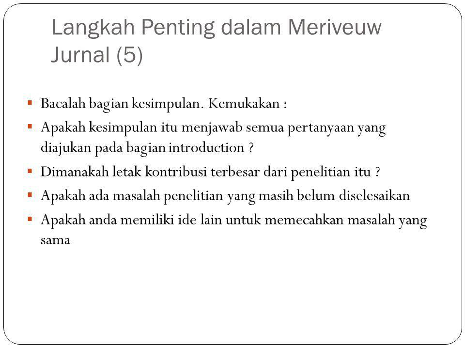 Langkah Penting dalam Meriveuw Jurnal (5)