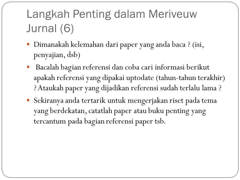 Langkah Penting dalam Meriveuw Jurnal (6)