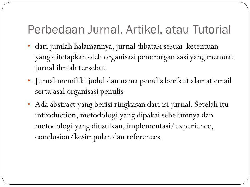 Perbedaan Jurnal, Artikel, atau Tutorial
