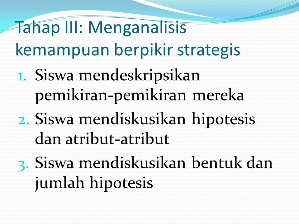 Tahap III: Menganalisis kemampuan berpikir strategis