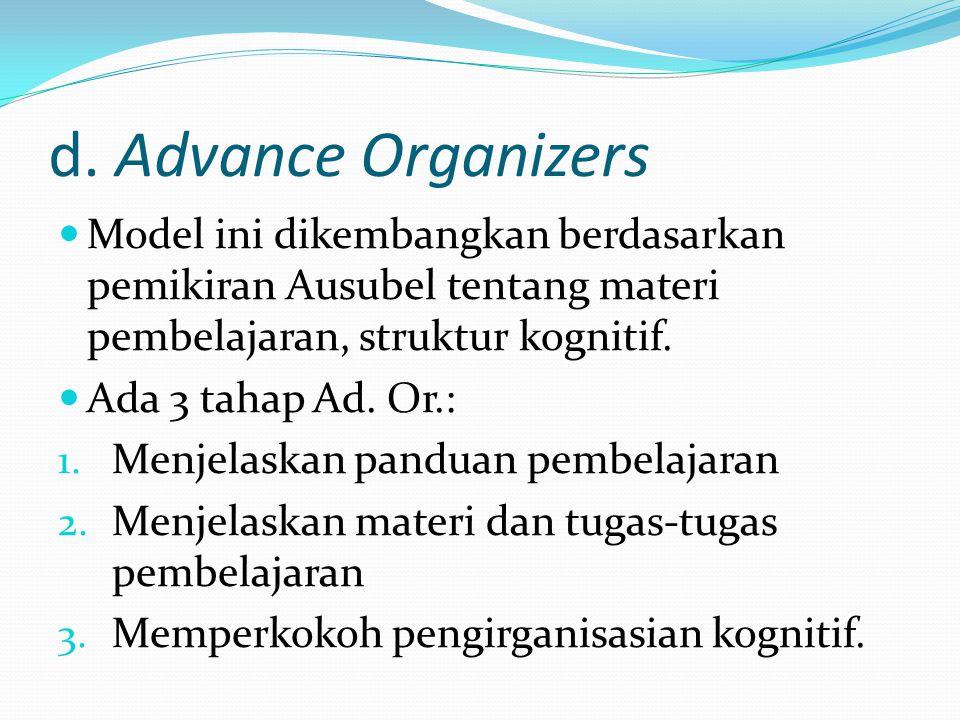 d. Advance Organizers Model ini dikembangkan berdasarkan pemikiran Ausubel tentang materi pembelajaran, struktur kognitif.