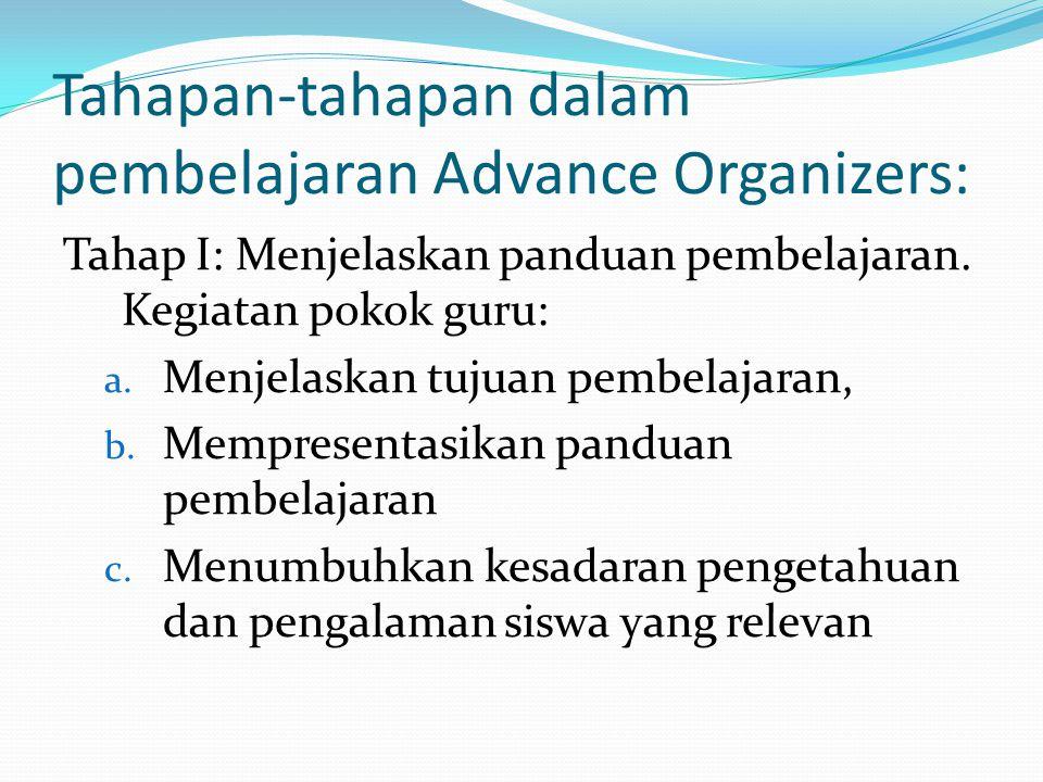 Tahapan-tahapan dalam pembelajaran Advance Organizers:
