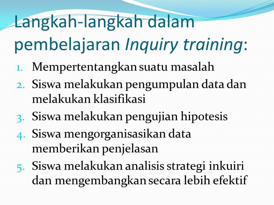 Langkah-langkah dalam pembelajaran Inquiry training: