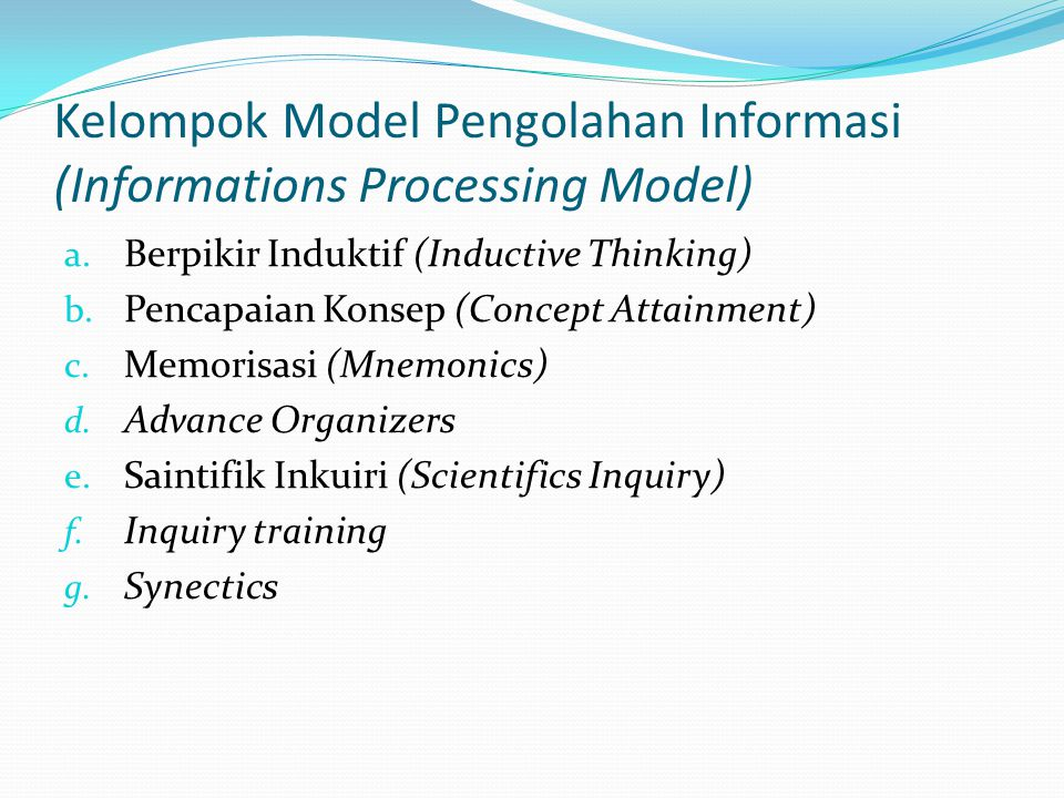 Kelompok Model Pengolahan Informasi (Informations Processing Model)