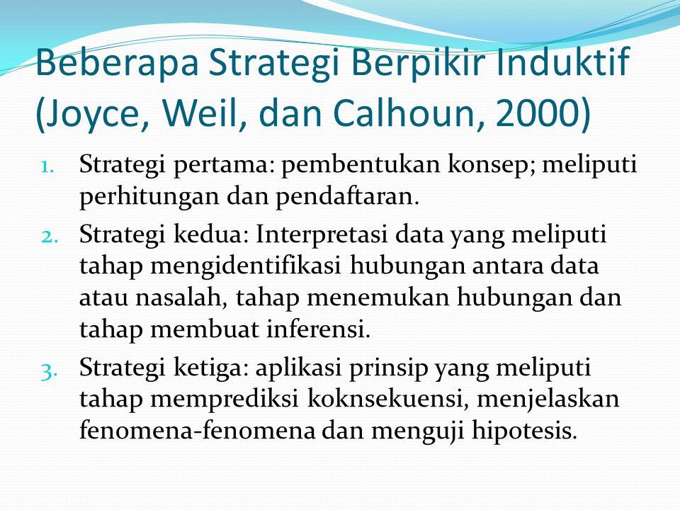 Beberapa Strategi Berpikir Induktif (Joyce, Weil, dan Calhoun, 2000)