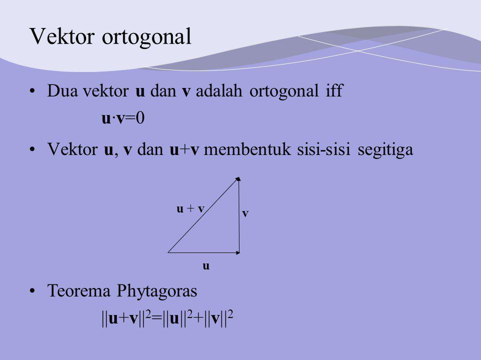 Vektor ortogonal Dua vektor u dan v adalah ortogonal iff u·v=0