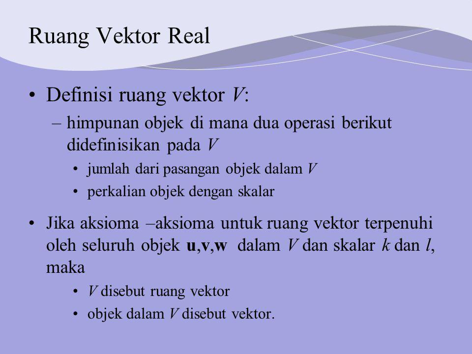 Ruang Vektor Real Definisi ruang vektor V: