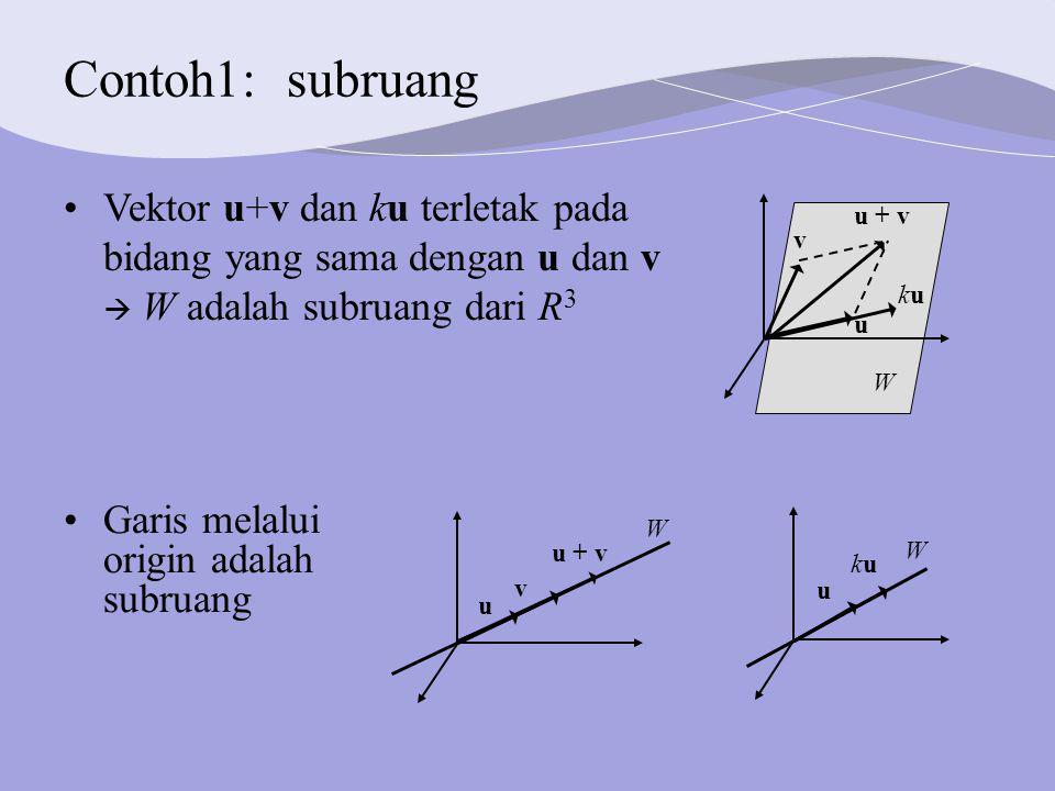 Contoh1: subruang Vektor u+v dan ku terletak pada bidang yang sama dengan u dan v  W adalah subruang dari R3.