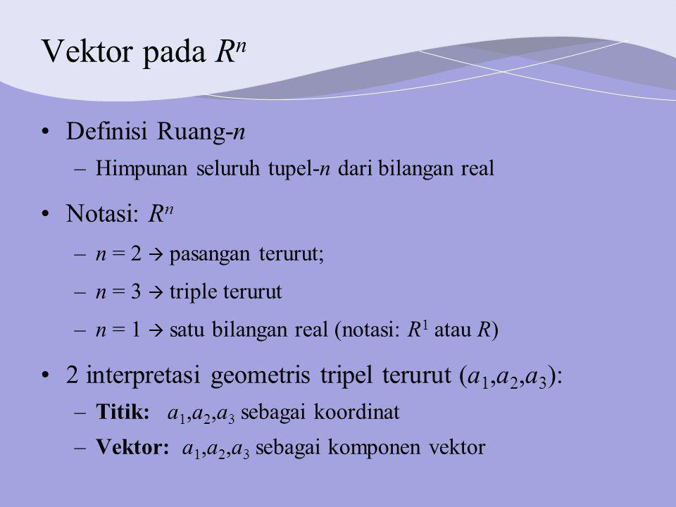 Vektor pada Rn Definisi Ruang-n Notasi: Rn