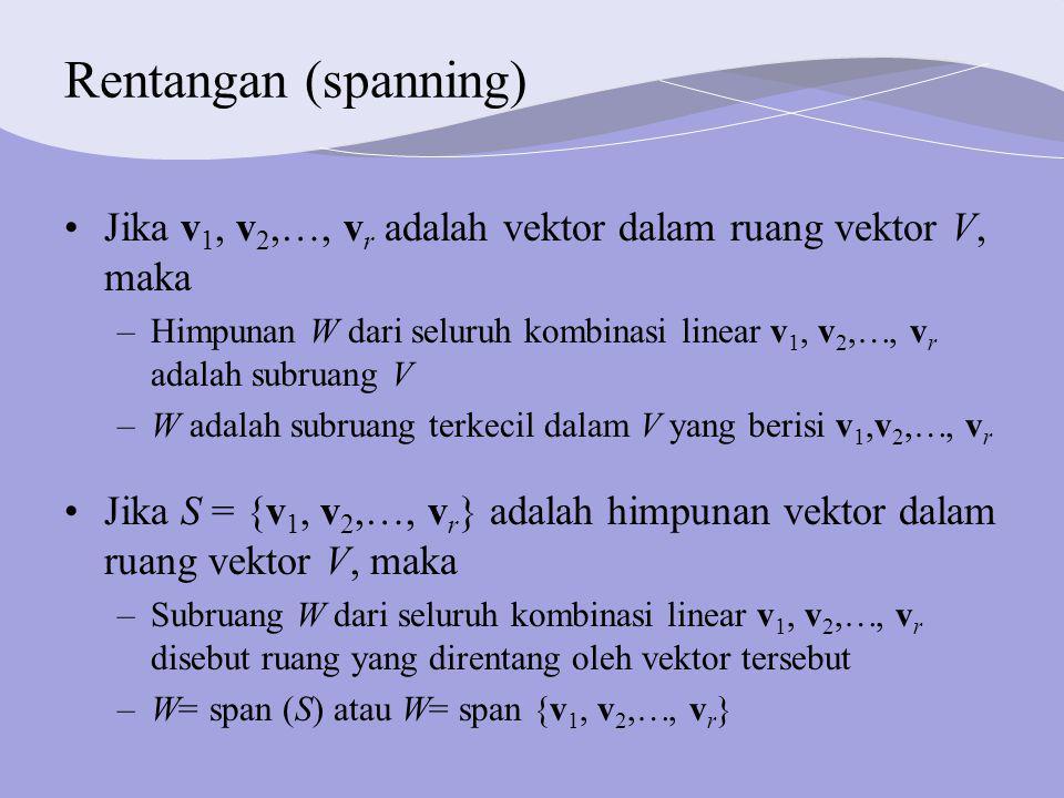 Rentangan (spanning) Jika v1, v2,, vr adalah vektor dalam ruang vektor V, maka.