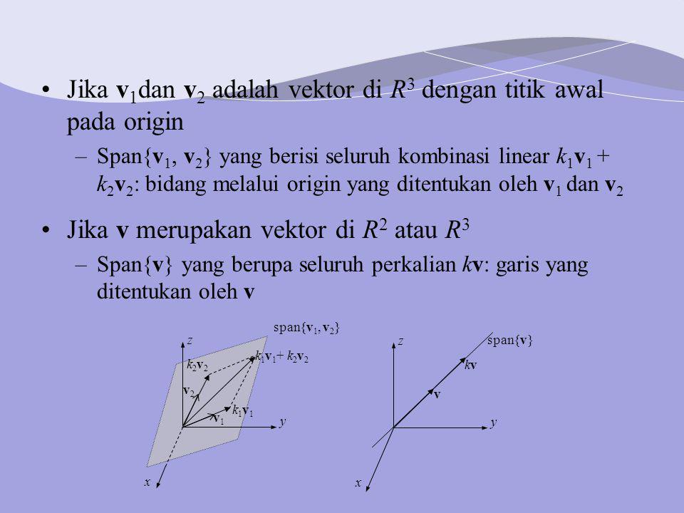 Jika v1dan v2 adalah vektor di R3 dengan titik awal pada origin