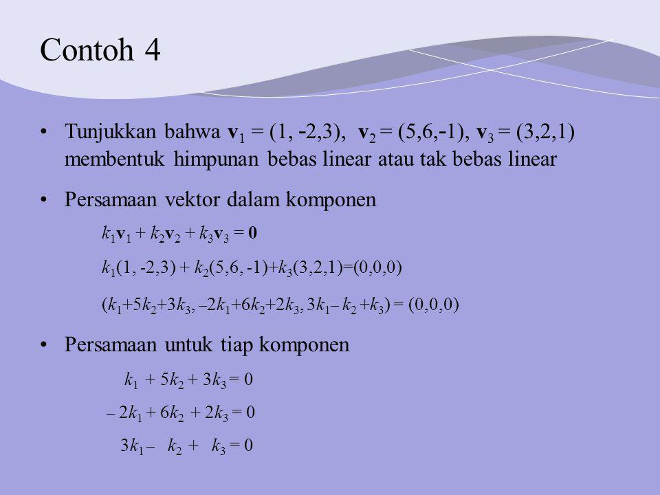 Contoh 4 Tunjukkan bahwa v1 = (1, -2,3), v2 = (5,6,-1), v3 = (3,2,1) membentuk himpunan bebas linear atau tak bebas linear.