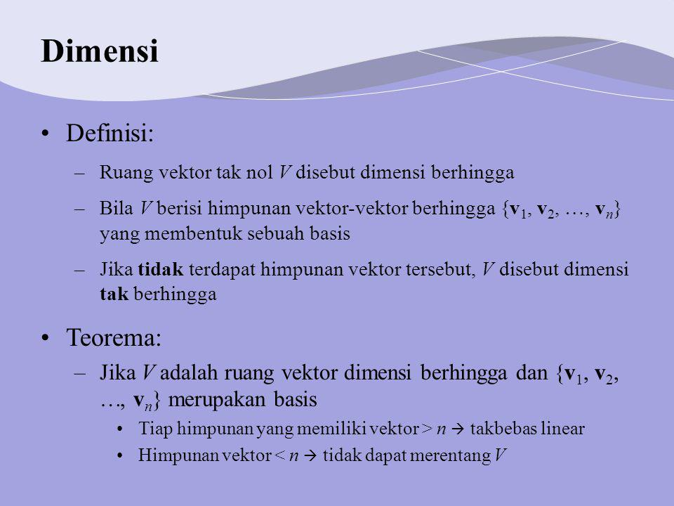 Dimensi Definisi: Teorema: