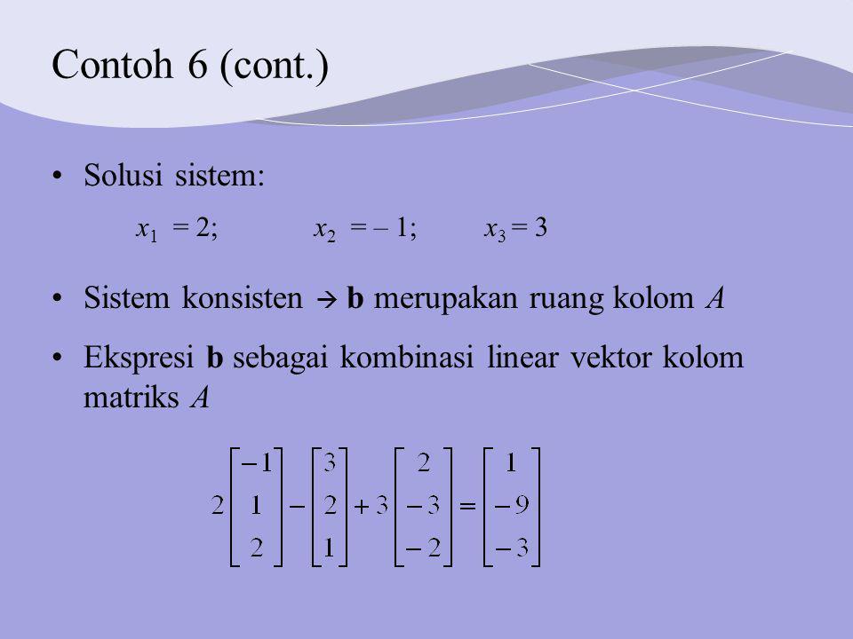 Contoh 6 (cont.) Solusi sistem: