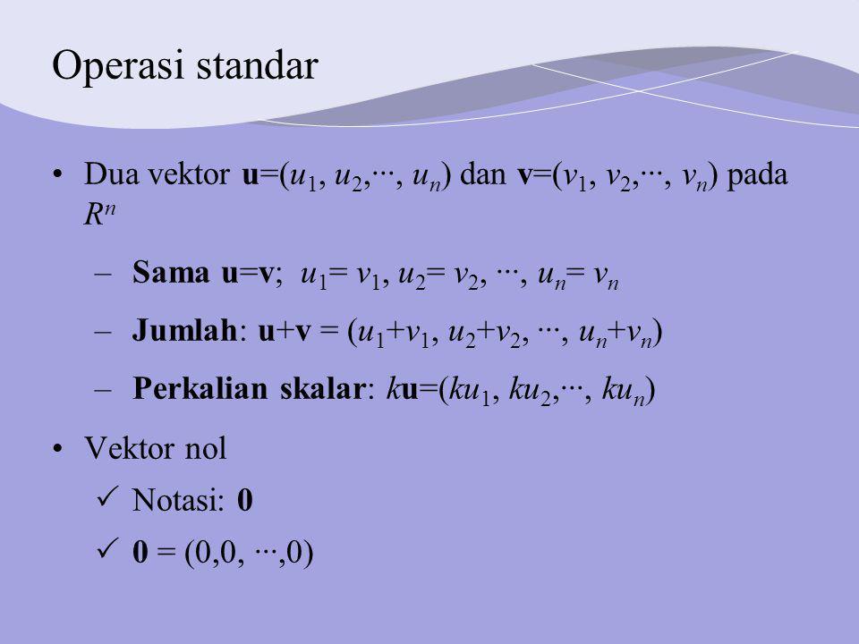 Operasi standar Dua vektor u=(u1, u2,···, un) dan v=(v1, v2,···, vn) pada Rn. Sama u=v; u1= v1, u2= v2, ···, un= vn.