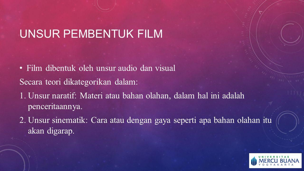 Unsur pembentuk film Film dibentuk oleh unsur audio dan visual