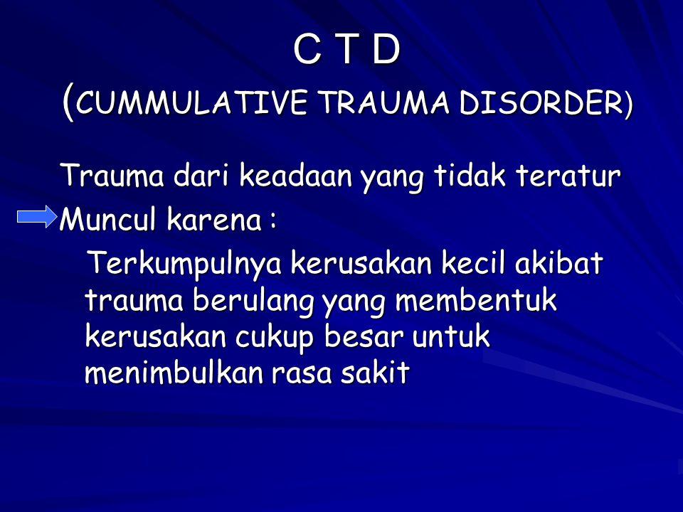 C T D (CUMMULATIVE TRAUMA DISORDER)