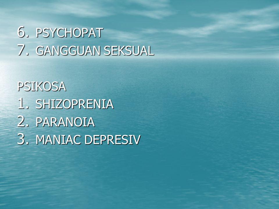 PSYCHOPAT GANGGUAN SEKSUAL PSIKOSA SHIZOPRENIA PARANOIA MANIAC DEPRESIV