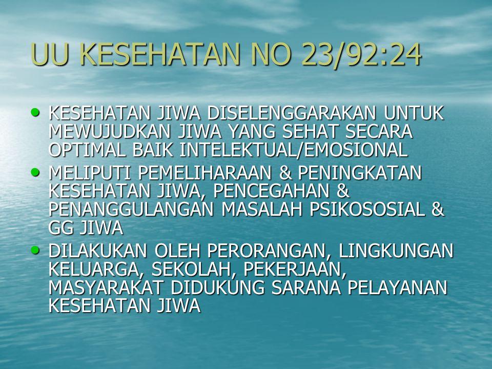 UU KESEHATAN NO 23/92:24 KESEHATAN JIWA DISELENGGARAKAN UNTUK MEWUJUDKAN JIWA YANG SEHAT SECARA OPTIMAL BAIK INTELEKTUAL/EMOSIONAL.
