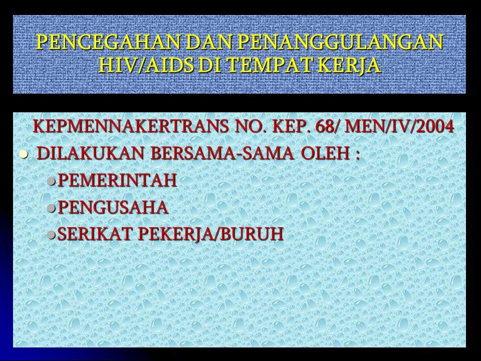 PENCEGAHAN DAN PENANGGULANGAN HIV/AIDS DI TEMPAT KERJA