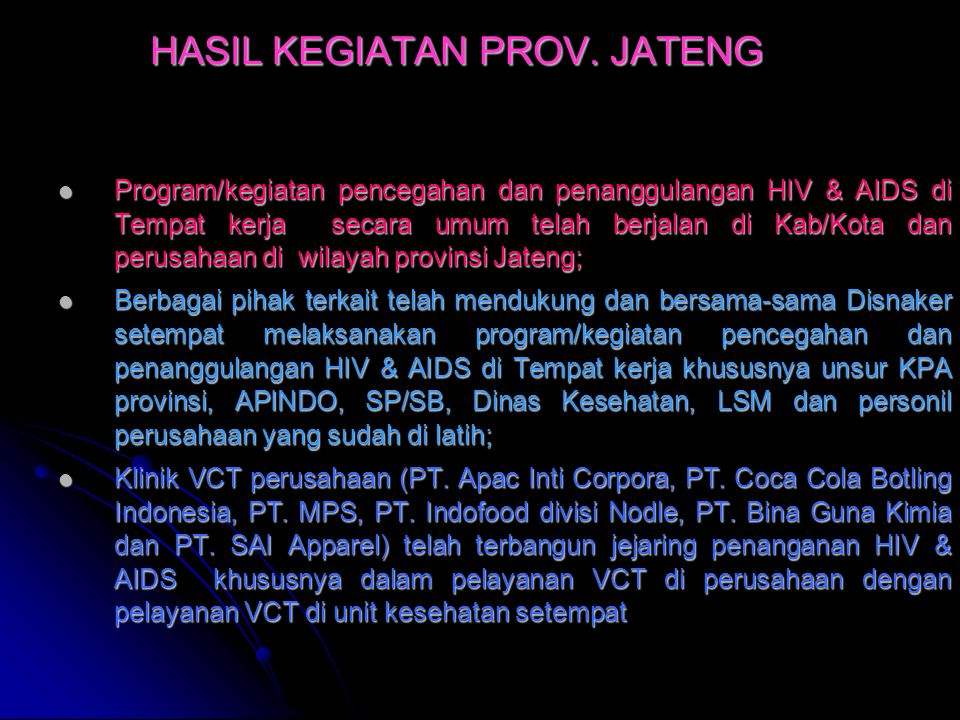 HASIL KEGIATAN PROV. JATENG