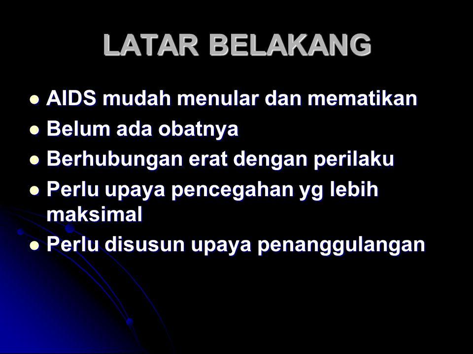 LATAR BELAKANG AIDS mudah menular dan mematikan Belum ada obatnya