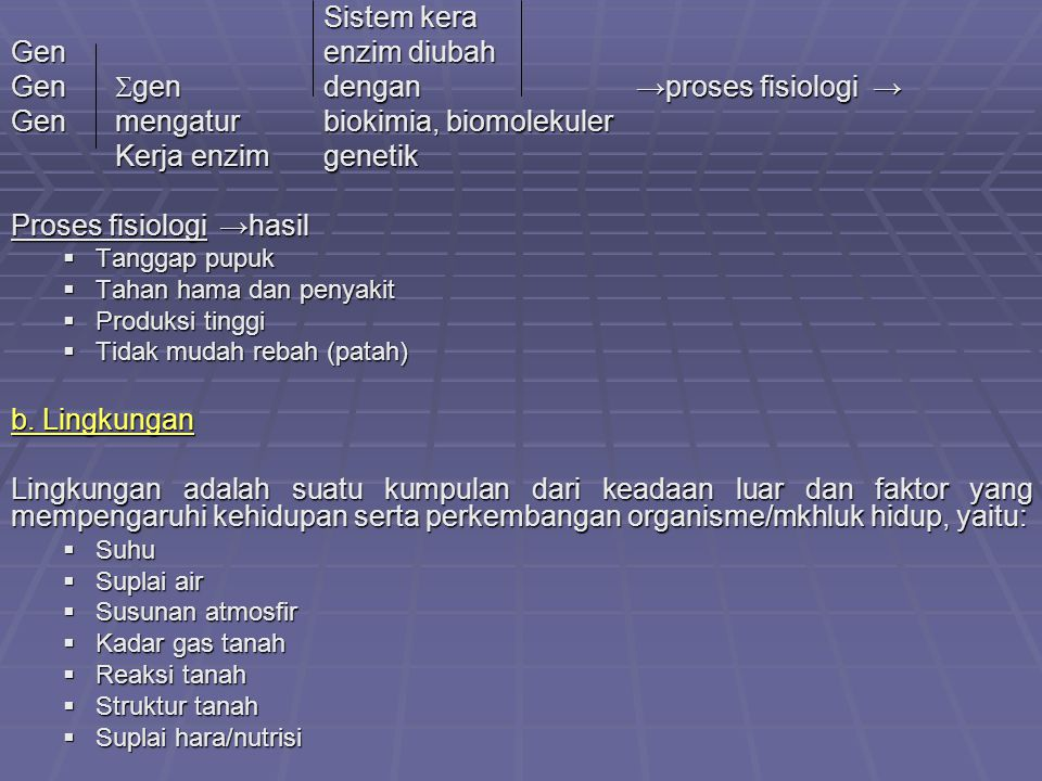 Gen gen dengan →proses fisiologi →