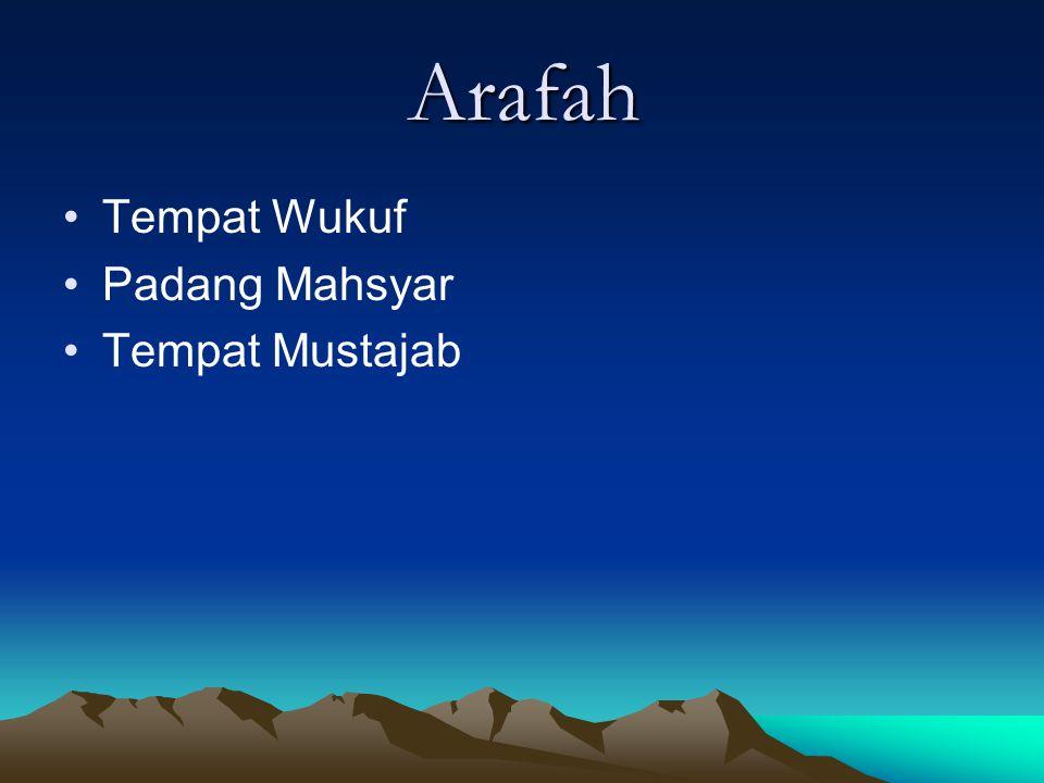 Arafah Tempat Wukuf Padang Mahsyar Tempat Mustajab