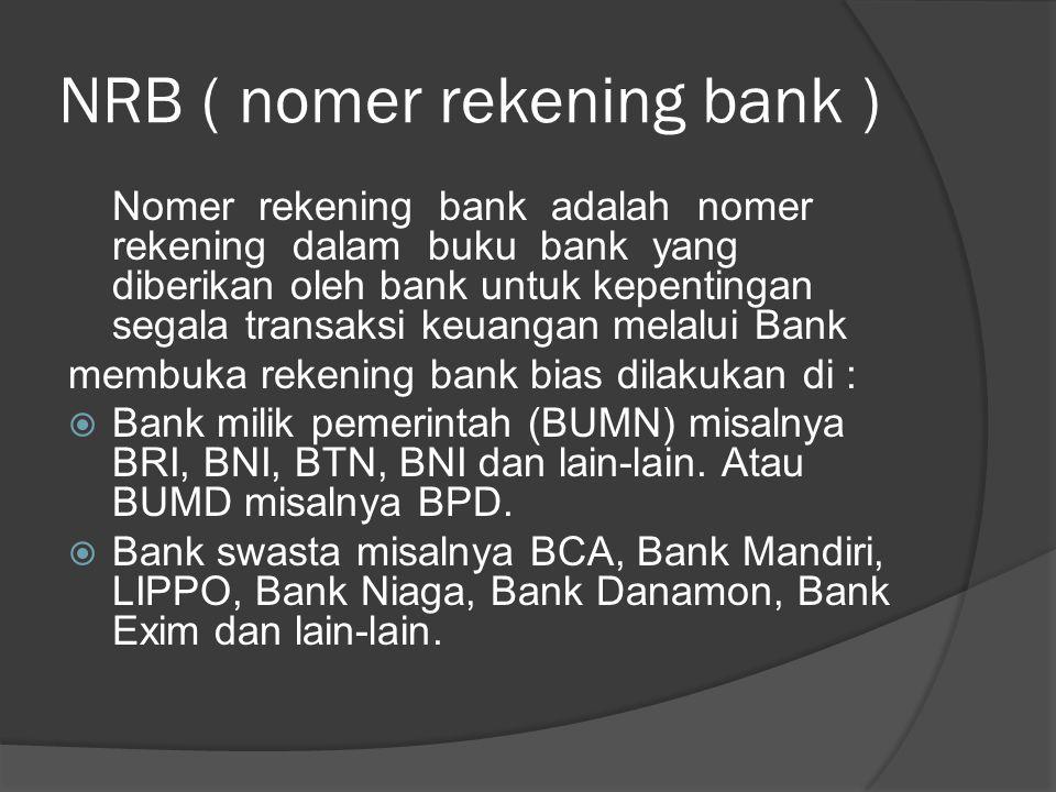 NRB ( nomer rekening bank )