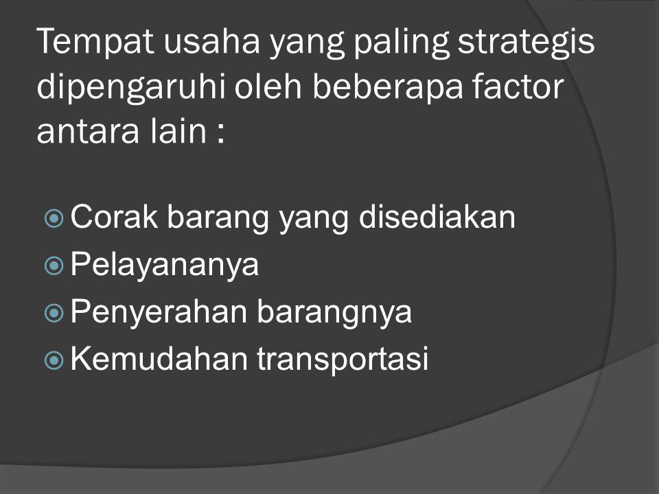 Tempat usaha yang paling strategis dipengaruhi oleh beberapa factor antara lain :