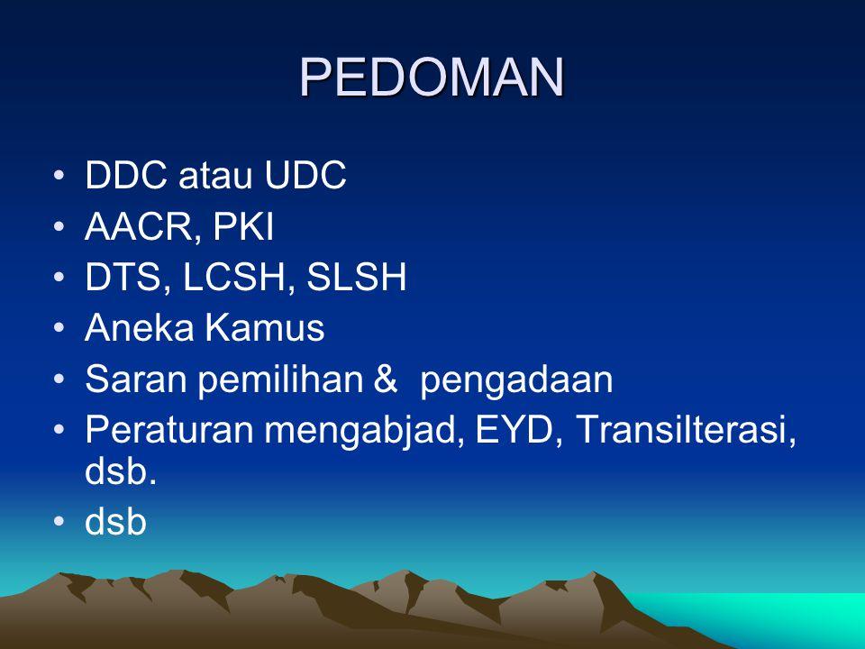 PEDOMAN DDC atau UDC AACR, PKI DTS, LCSH, SLSH Aneka Kamus