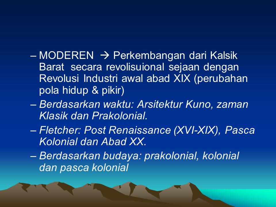 MODEREN  Perkembangan dari Kalsik Barat secara revolisuional sejaan dengan Revolusi Industri awal abad XIX (perubahan pola hidup & pikir)