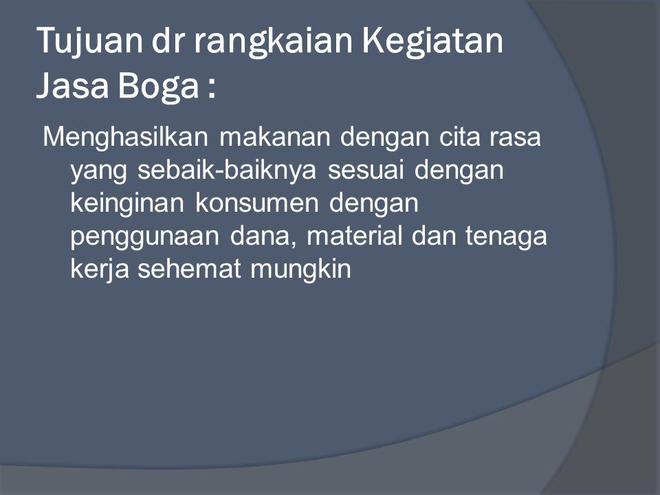 Tujuan dr rangkaian Kegiatan Jasa Boga :