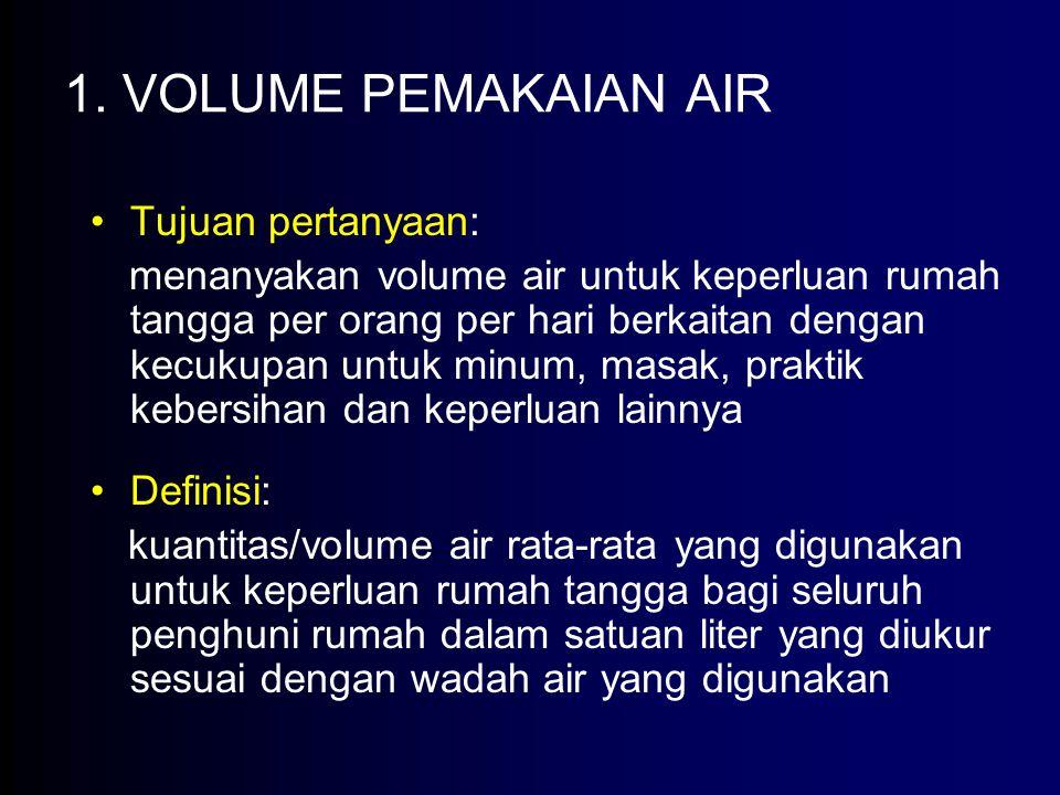 1. VOLUME PEMAKAIAN AIR Tujuan pertanyaan: