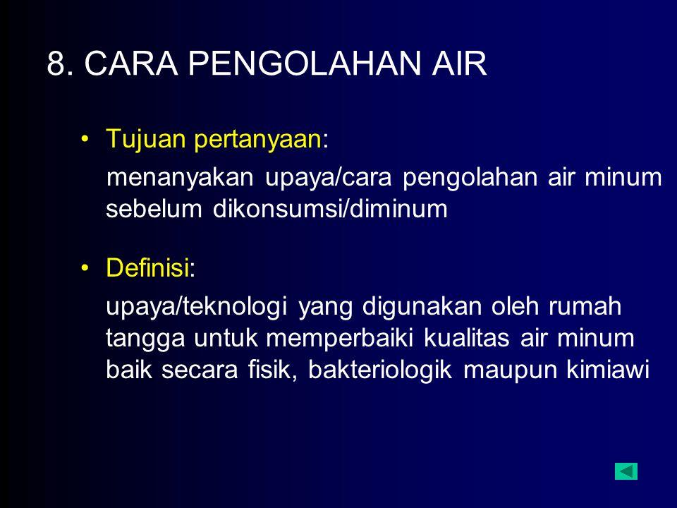 8. CARA PENGOLAHAN AIR Tujuan pertanyaan: