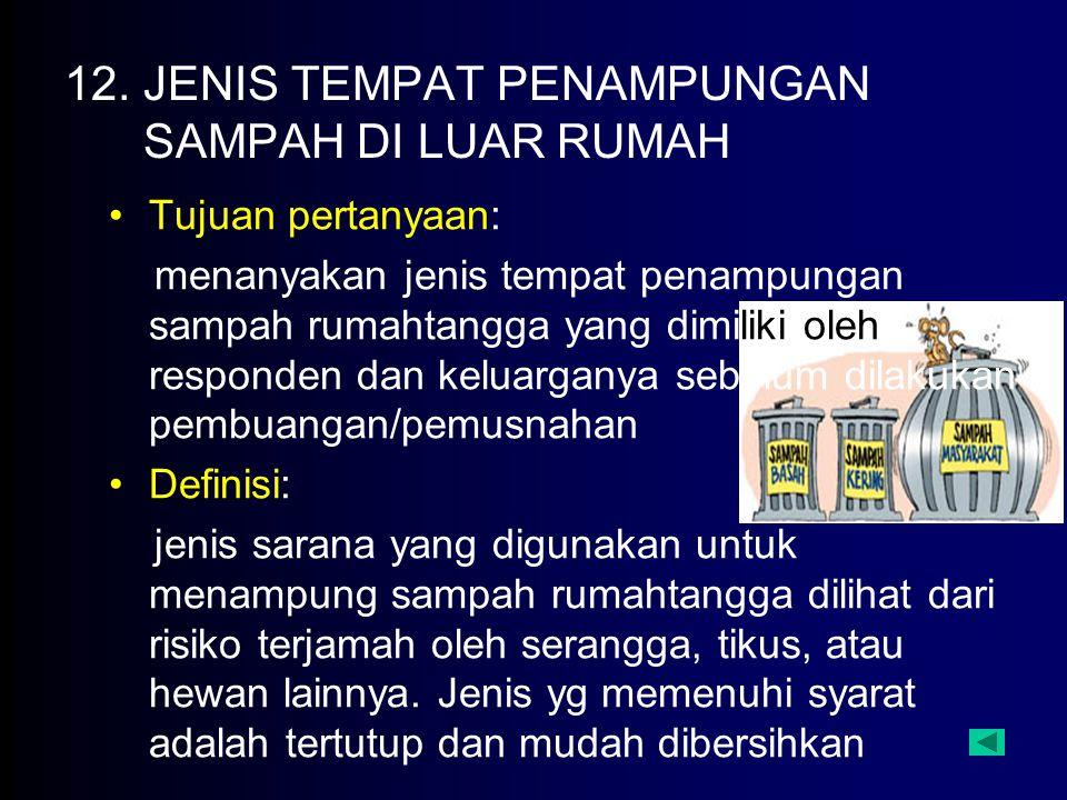 12. JENIS TEMPAT PENAMPUNGAN SAMPAH DI LUAR RUMAH