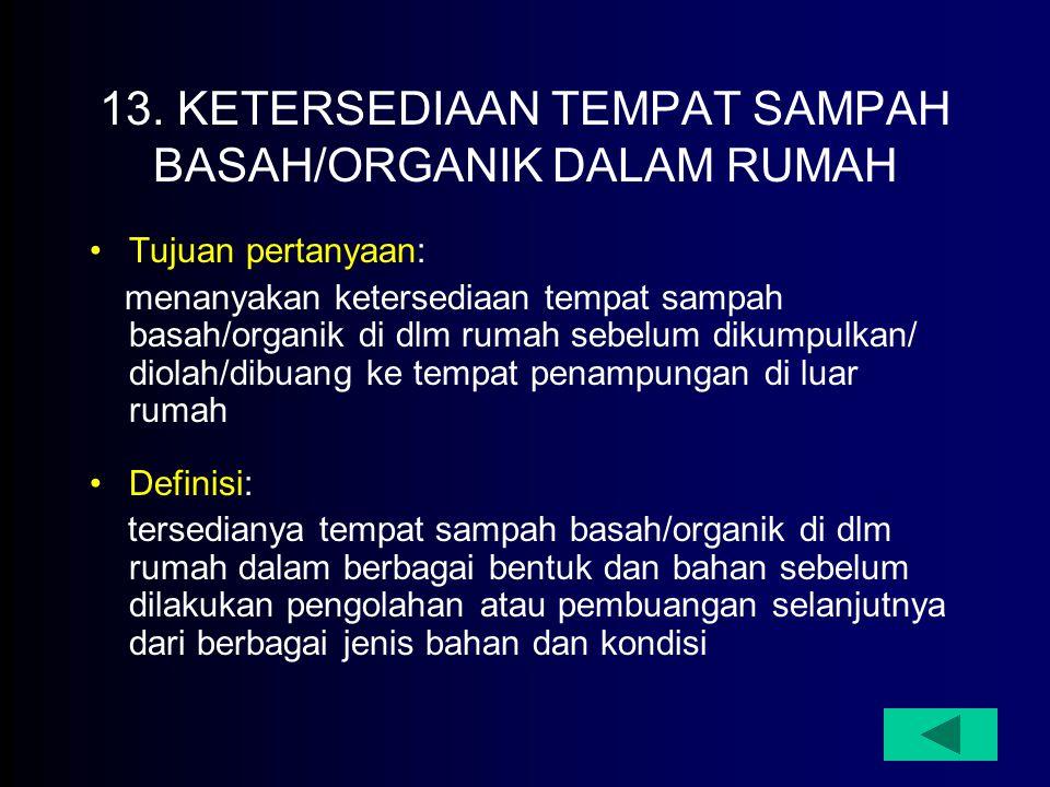 13. KETERSEDIAAN TEMPAT SAMPAH BASAH/ORGANIK DALAM RUMAH