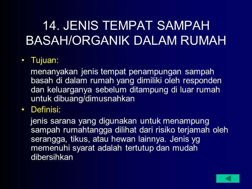 14. JENIS TEMPAT SAMPAH BASAH/ORGANIK DALAM RUMAH