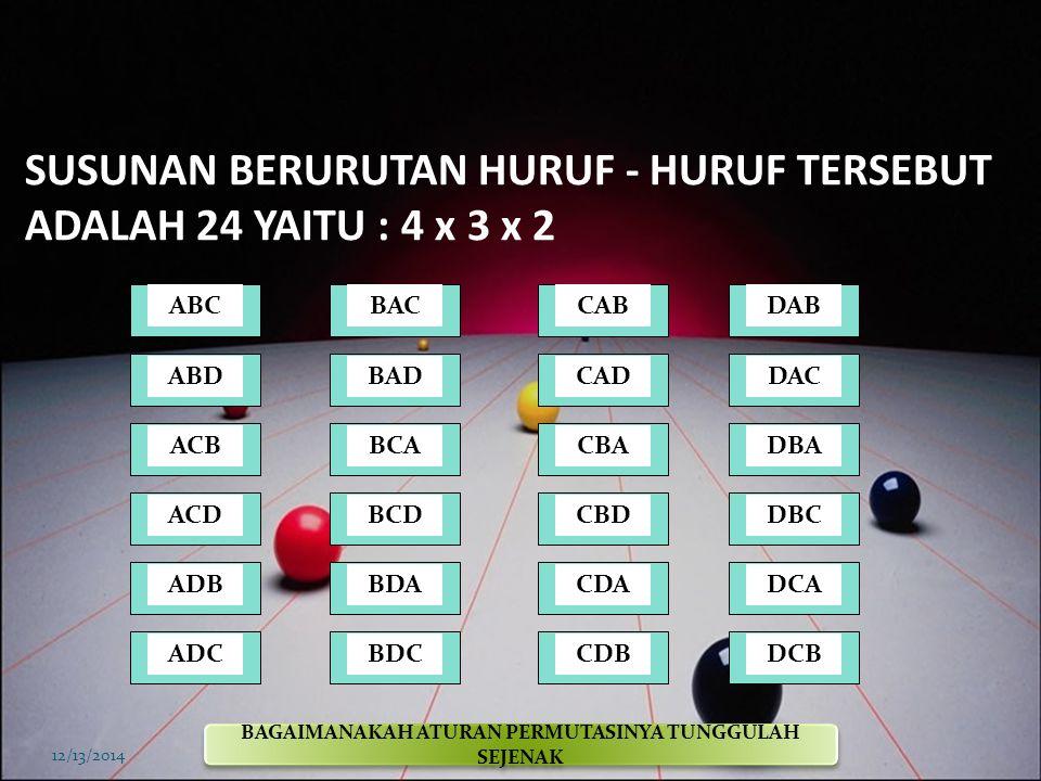 SUSUNAN BERURUTAN HURUF - HURUF TERSEBUT ADALAH 24 YAITU : 4 x 3 x 2
