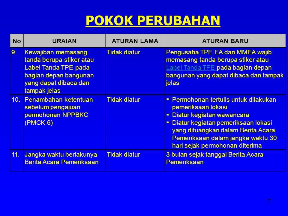 POKOK PERUBAHAN No URAIAN ATURAN LAMA ATURAN BARU 9.