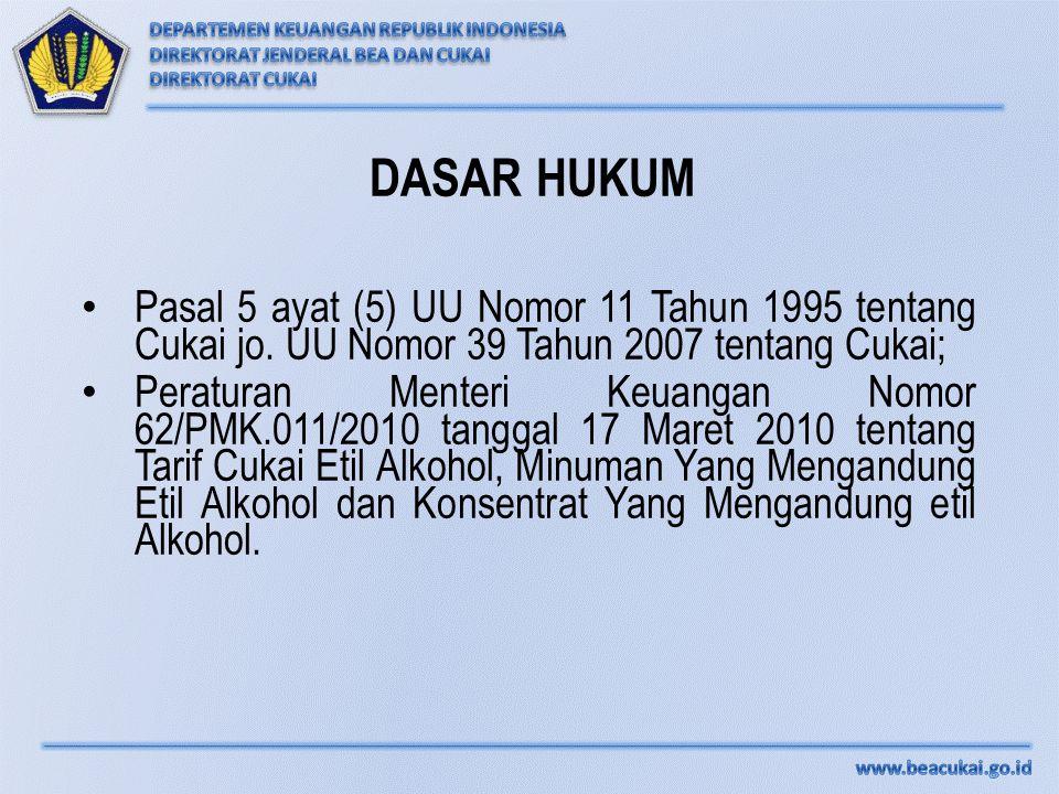 DASAR HUKUM Pasal 5 ayat (5) UU Nomor 11 Tahun 1995 tentang Cukai jo. UU Nomor 39 Tahun 2007 tentang Cukai;